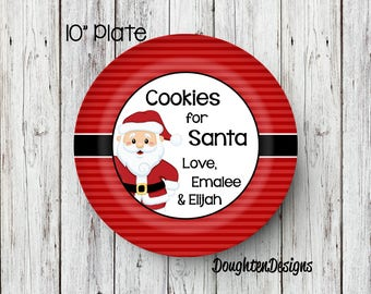 Personalized Santa Plate, Cookie Plate for Santa, Santa Plate, Milk & Cookie set, Cookies for Santa, melamine plate, Christmas eve plate