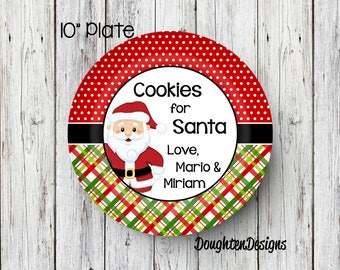 Cookies for Santa plate, Personalized Santa Plate, Santa Plate, Milk & Cookie set, Cookies for Santa, melamine plate, Christmas eve plate