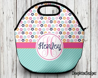 Personalized lunch bag, Neoprene lunch tote, Monogram lunch bag, Back to school, Personalized lunch tote, Insulated lunch bag, lunch box
