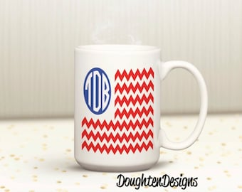 Monogram Mug, Patriotic Monogram mug, Monogram Veteran's Day Mug, Monogram Memorial Day mug, Personalized flag monogram mug, circle monogram