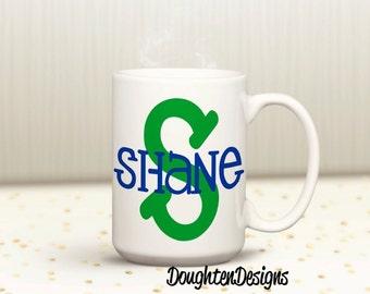 Initial Mug, Personalized Monogram Mug, Personalized mug, Monogram initial mug, Custom mug