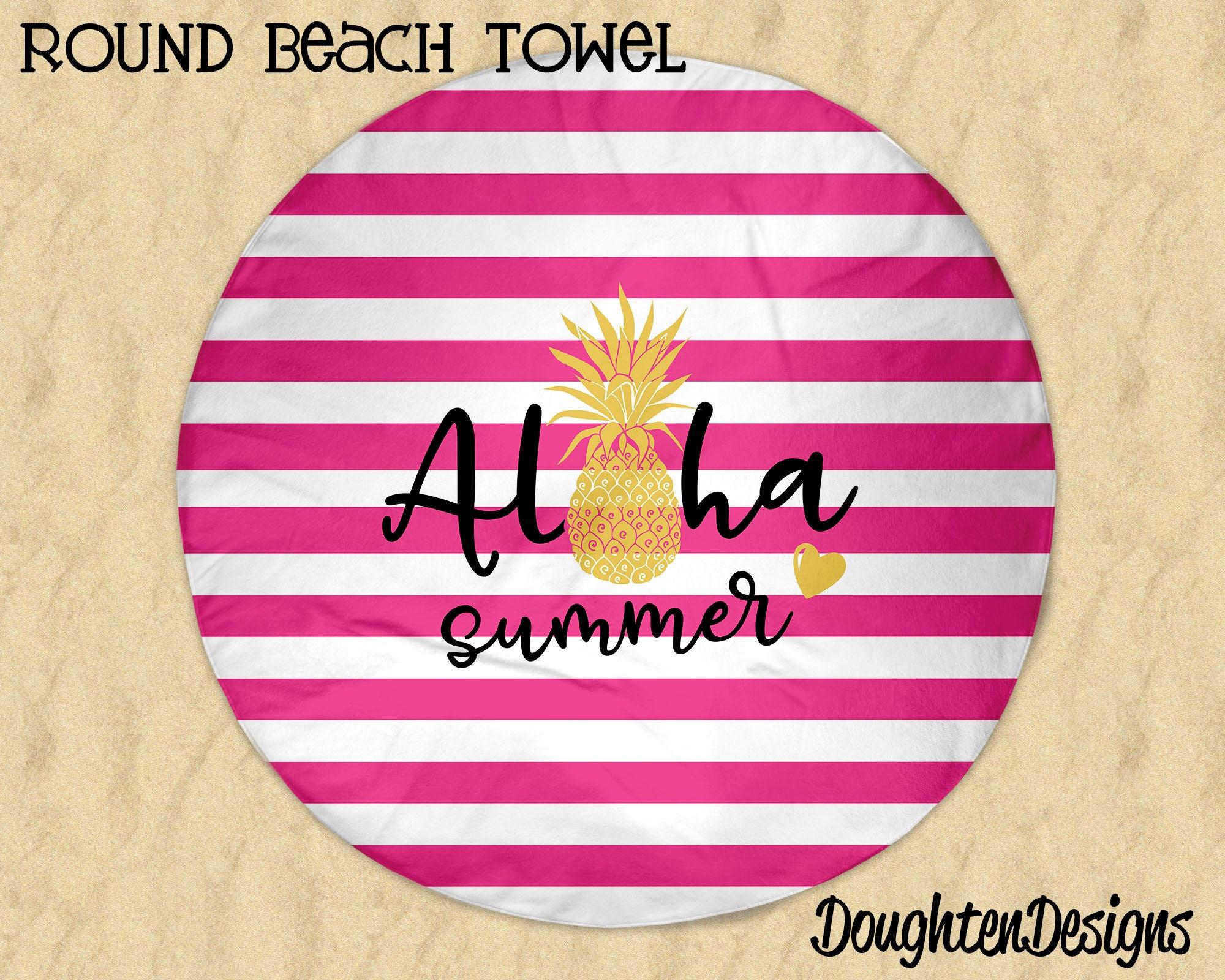 Pineapple Beach Towel Aloha Summer Towel Round Beach Towel   Etsy