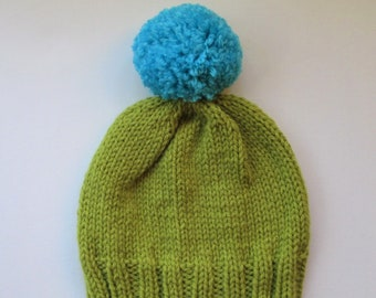 e78bd5f471a Bobble Hat in Lime Green Chunky Yarn with Blue Pom Pom