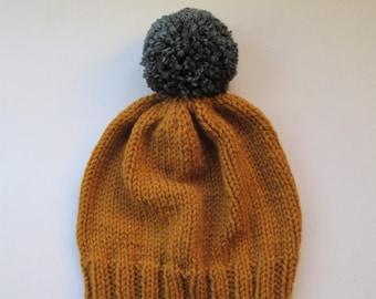 4a1ca9b25b38c Bobble Hat in Mustard Chunky Yarn with Grey Pom Pom