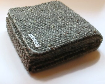 Scarf in Grey Aran Tweed Wool - Mens