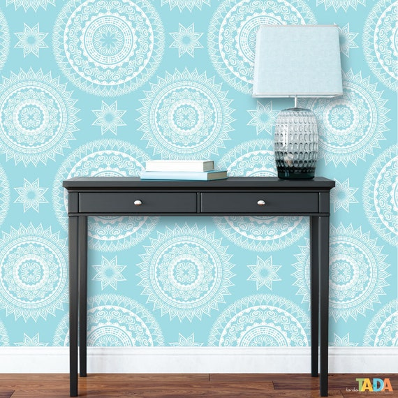 Teal And White Mandala Peel And Stick Wallpaper Removable Etsy