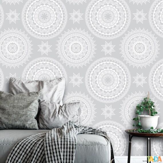Gray And White Mandala Peel And Stick Wallpaper Abstract Etsy