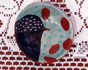 Bird Bowl, Pinch Pot, Decorative Kitchen Bowl, Bird Art, Colorful Bird Bowl, Clay Bowl, Animal Art, Kitchen Decor, Clay Table Bowls, Birds