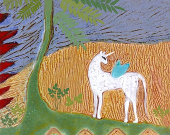 Unicorn Tile   Clay Tile   Ceramic Art Tile   Decorative Tile   Ceramic Tiles   Colorful Tile   Animal Art   Small Gifts   Housewarming Gift