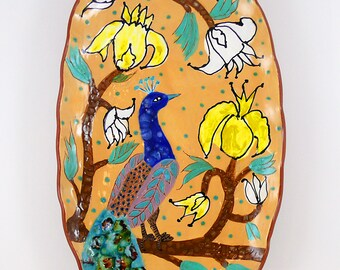 Ceramic Wall Hanging Platter, Ceramic Wall Plate,  Ceramic Wall Tile, Ceramic Wall Bird Platter, Peacock and Flowers Ceramic Wall Art