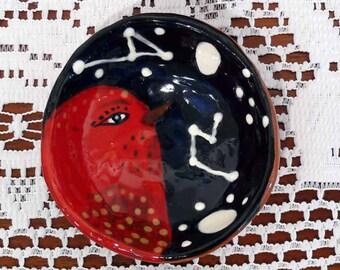 Bird Bowl, Pinch Pot, Little Dream Bowl, Decorative Bowl, Little Colorful Bowl, Colorful Bowls, Bird Art, Animal Bowl, Red Bird Bowl, Birds