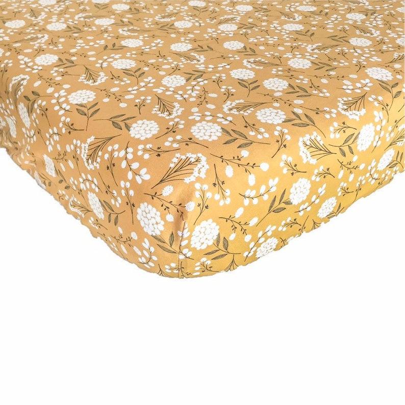 Mustard Dandelion Crib Sheet Girl Boho Fitted Mini Crib image 0