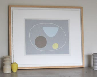 1950's inspired screenprint, abstract original handmade art, fifties, mid century modern, Miro, Hepworth by Emma Lawrenson