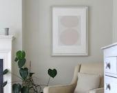 Large pink abstract art, original print, screenprint, minimal, Emma Lawrenson