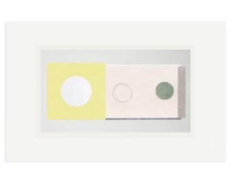 Modernist abstract original screenprint, hand drawn, geometric art by Emma Lawrenson