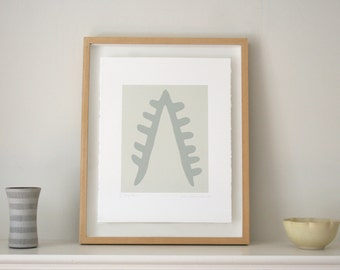 Original Print, modern screenprint, greys, Emma Lawrenson, inspired by Matisse. Abstract modern art