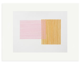 Abstract art print, screenprint, geometric print, pink and orange abstract, original, handmade art. Mid Century modern, Emma Lawrenson