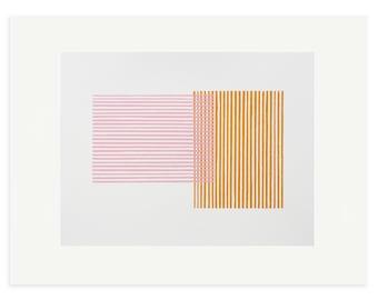Abstract art print, screenprint, geometric print, pink and orange abstract, original, handmade art. Mid Century modern, Emma Lawrenson