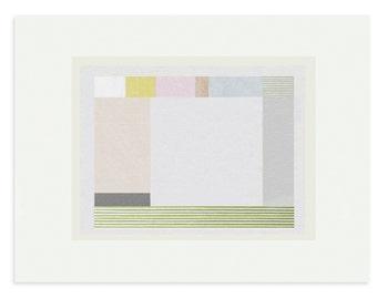 Geometric screenprint, abstract grid print, original, handmade art in greys, pastels, by Emma Lawrenson. Contemporary print