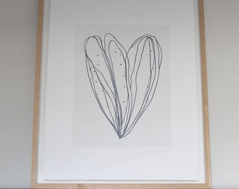Large ink drawing screenprint 'Bud IV', original modern handmade art in black and white. Simple wall decor by Emma Lawrenson