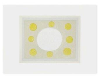 Abstact original art, pretty painterly print, soft colours, handmade screenprint, grey, yellow, beige by Emma Lawrenson.