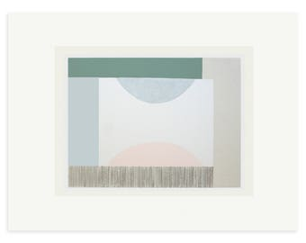 Geometric screenprint, original handmade silkscreen, abstract art, modern wall decor, muted colours. Emma Lawrenson