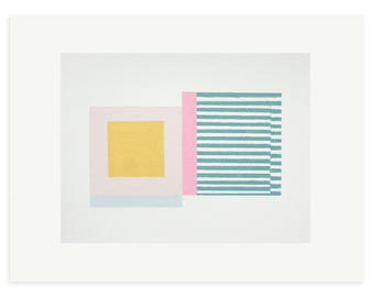 Abstract geometric art print, Retro original screenprint, Mid Century Modern art in sherbet colours by Emma Lawrenson
