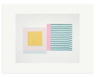 Abstract geometric art print, Retro original screenprint, Mid Century Modern art in sherbet colours by Emma Lawrenson