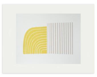 Mid century modern, fifties style abstract screenprint. Original, handmade fine art print, yellow, grey by Emma Lawrenson
