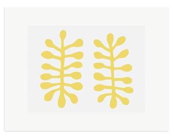 Fine art print, Matisse inspired, original abstract screenprint. Yellow, leaf motif. Gift idea art print by Emma Lawrenson