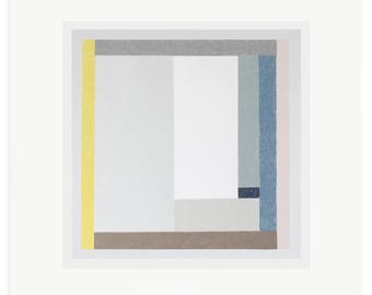 Abstract square minimal screenprint. Original handmade modernist geometric art in greys and blues by Emma Lawrenson