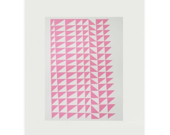 Mid Century screenprint, Emma Lawrenson. Pink handmade abstract geometric art, girls bedroom, retro home, fifties home, scandinavian home.