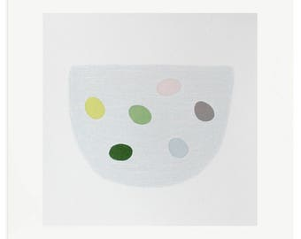Emma Lawrenson original silkscreen print pastel colours, Small 'eggs' abstract screenprint, handmade modern art.