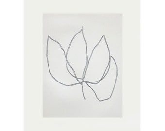 original drawing, screenprint of a simple plant/bud. Large black and white minimal art by Emma Lawrenson