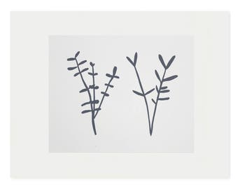 Art Print, small plant screenprint in charcoal grey and off white, 'Sprigs' original modern handmade art by Emma Lawrenson