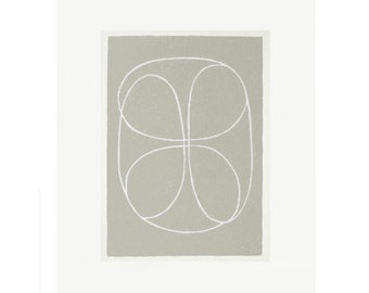 Small grey abstract screenprint, handpulled, simple modern art. Original printmaking by Emma Lawrenson