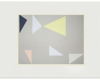Large geometric original screenprint in lovely muted neutral shades with pink, blue, lime green and charcoal grey.