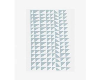Mid Century modern geometric screenprint, abstract original art, blue. Modern wall art by Emma Lawrenson.