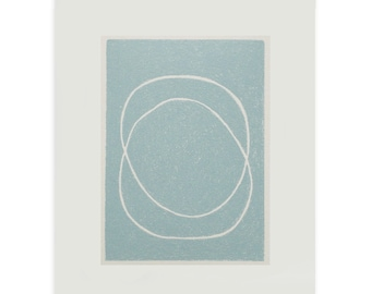 Abstract screenprint, small silkscreen print, handmade on lovely paper, modern, simple wall decor by Emma Lawrenson.