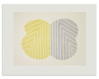 Yellow and grey abstract screenprint, original, handmade art, Frank Stella, Emma Lawrenson