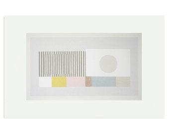 Large abstract screenprint by Emma Lawrenson. Modern, minimal, original art