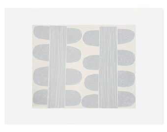 Scandinavian print, silkscreen print in duck egg blue, original handmade fifties inspired small modern art.