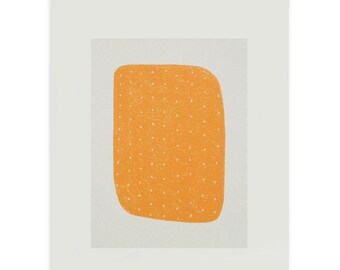 Silkcreen print, small, abstract, orange, original Mid Century handmade art, Emma Lawrenson