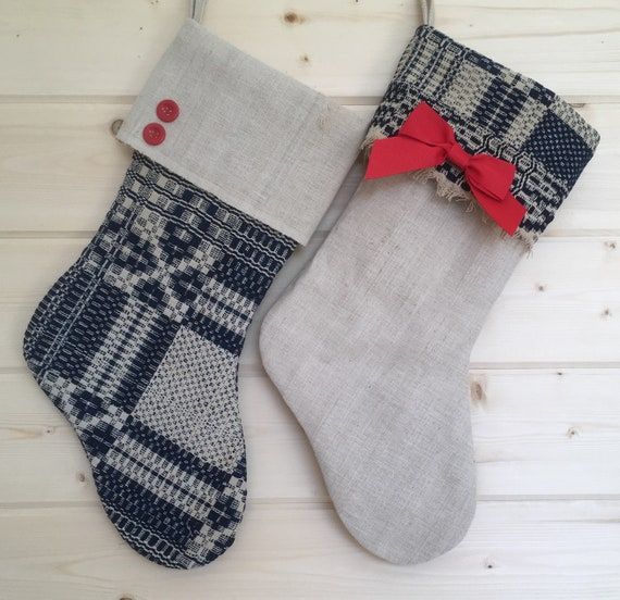 History Of Christmas Stockings.Coverlet Christmas Stockings Antique Navy Ecru Coverlet And Linen Primitive Family Stocking Set