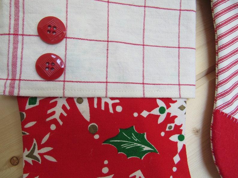 Vintage Snowflake Holiday Decor Red Stripe Christmas Stocking Ticking Family Stocking Set