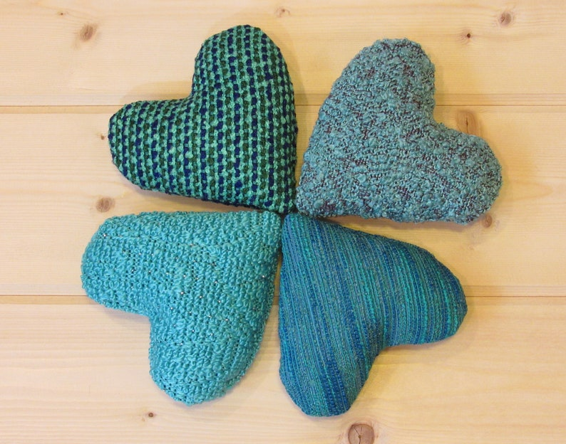 Teal Aqua Turquoise Hearts Mid Century Modern Set of 4 Heart Pillows Vintage Heart Ornaments