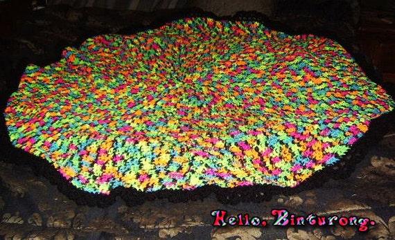 Neon Circle Blanket Crochet Circle Blanket Crochet Circle Etsy