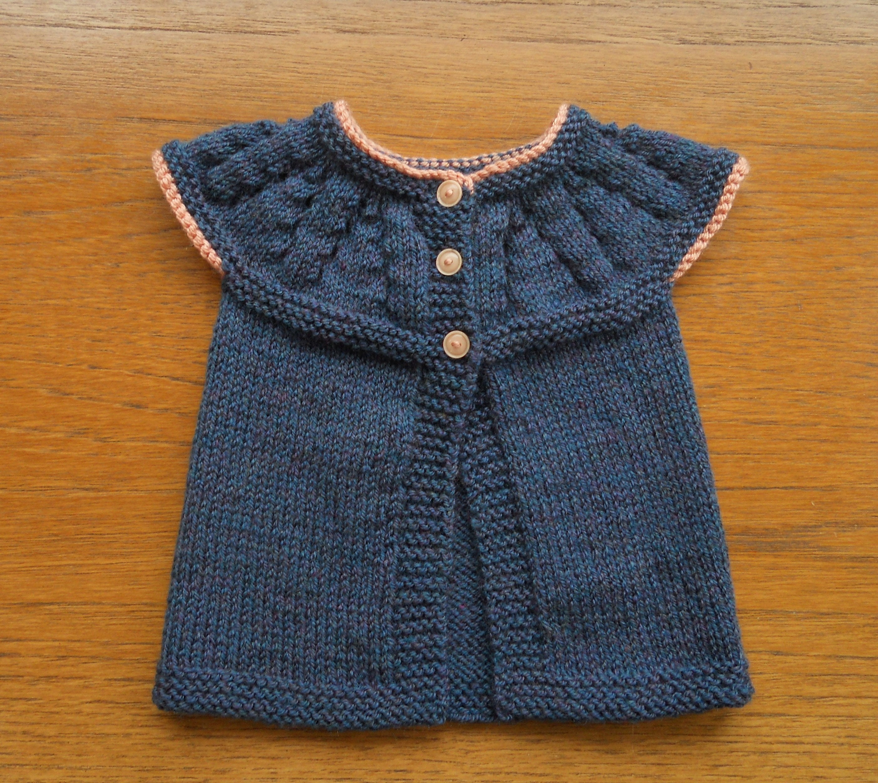 Navy Blue and Multi Cardigan Age 6 to 12 monthes. Babies Hand knit jacket