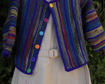 Cardigan/coat/jacket/sweater hand knitted in multicolour yarn. Suit toddler boy or girl age approx 12-18 months