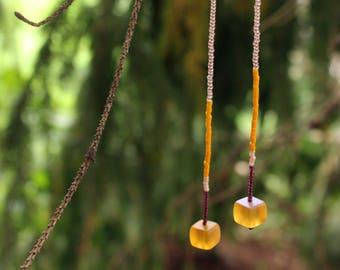 Clio beaded yellow drop earrings